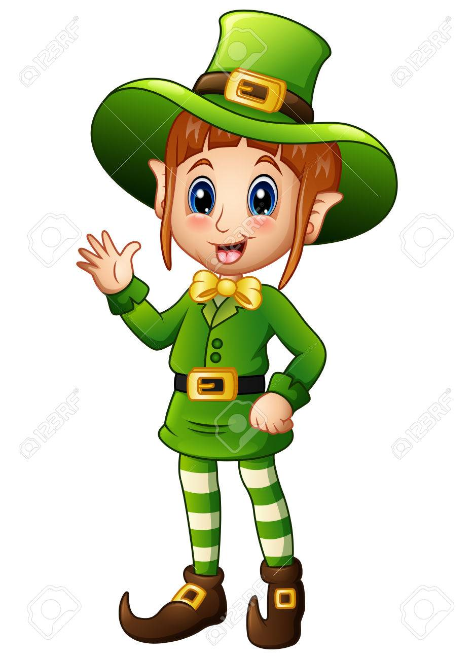 Cartoon girl leprechaun waving hand