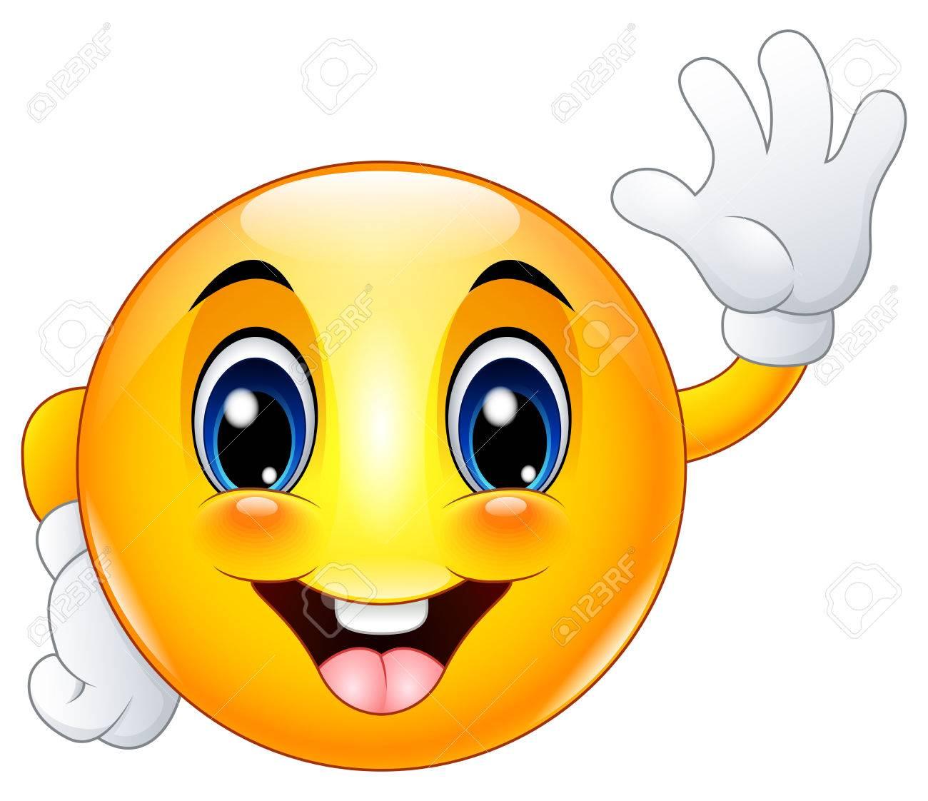 Cartoon emoticon smiley face waving hello - 75373775