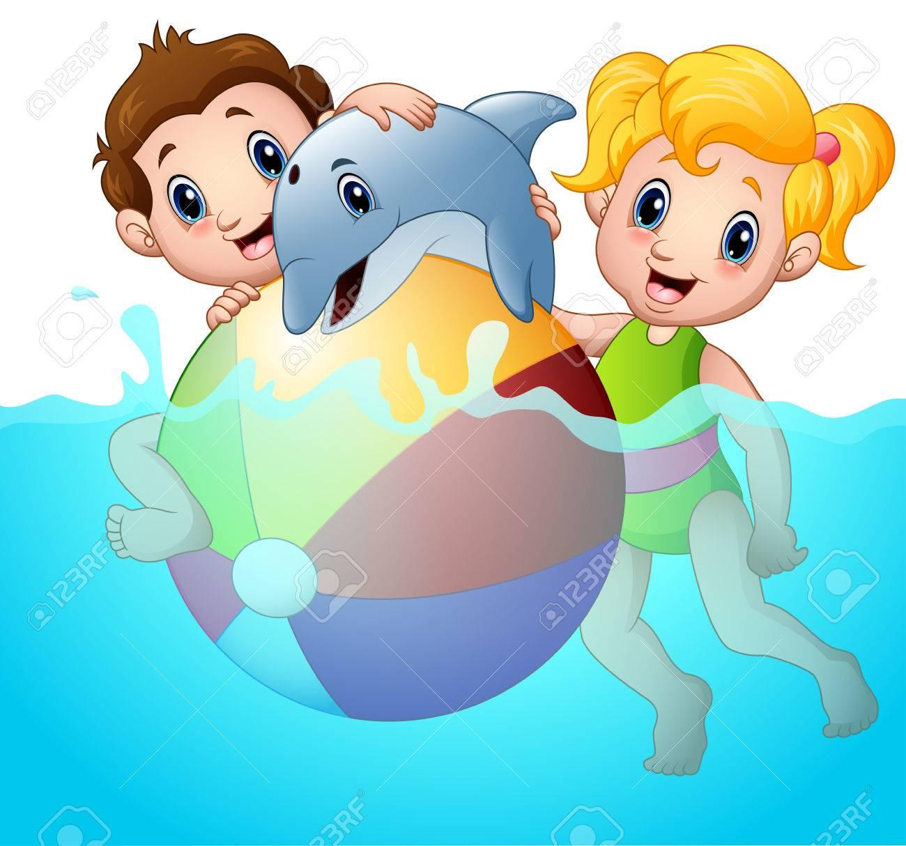Ilustración Vectorial De Dibujos Animados Niños Y Niñas Jugando