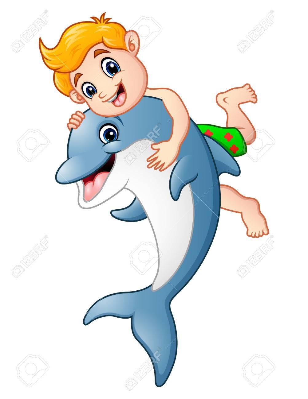 Dibujos Animados Niño Jugando Con Delfines Fotos Retratos Imágenes Y Fotografía De Archivo Libres De Derecho Image 75548234
