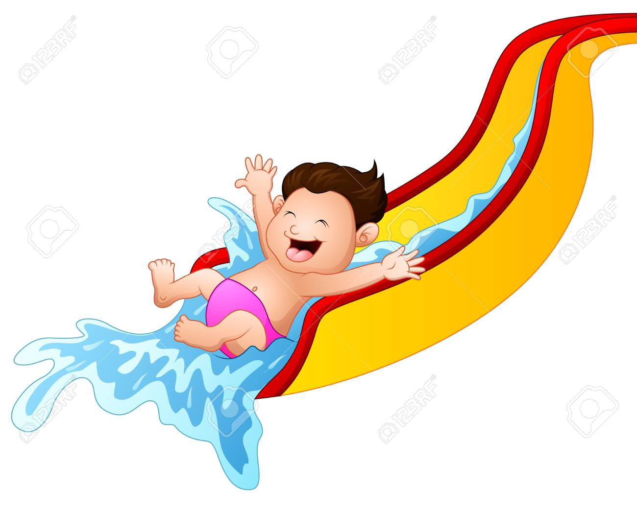 cartoon boy playing waterslide royalty free cliparts vectors and rh 123rf com clipart cartoon water slide