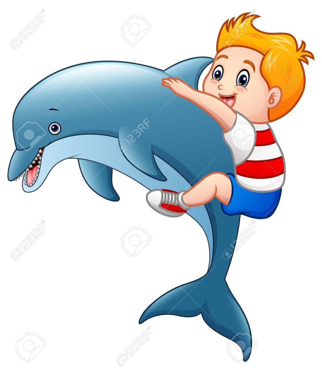 De Dibujos Animados Niño Pequeño Con Los Delfines Fotos Retratos Imágenes Y Fotografía De Archivo Libres De Derecho Image 75634014