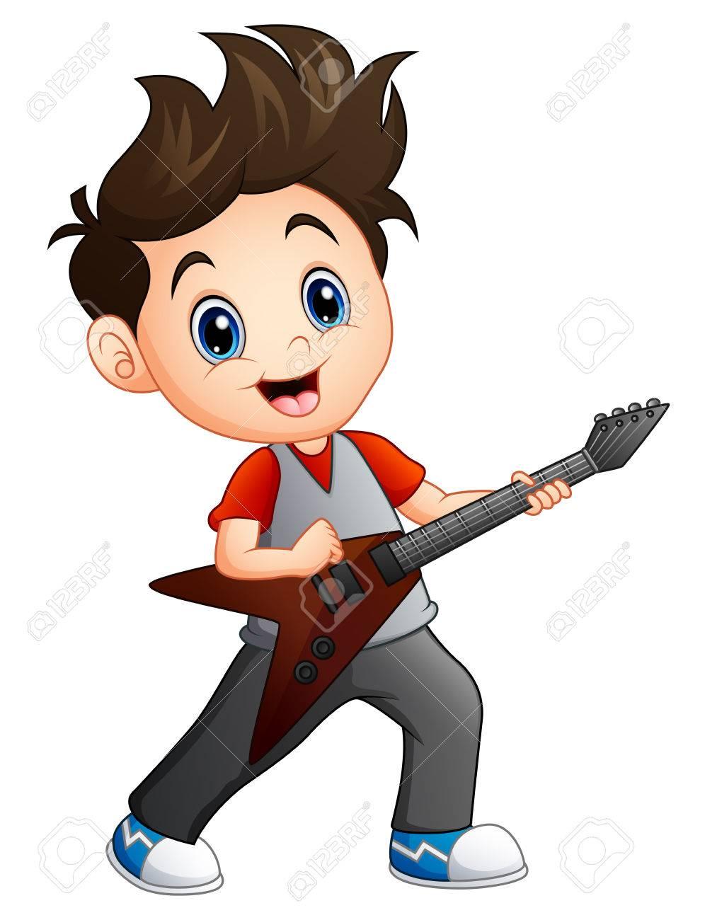 Cartoon Boy Playing Electric Guitar Royalty Free Cliparts Vectors
