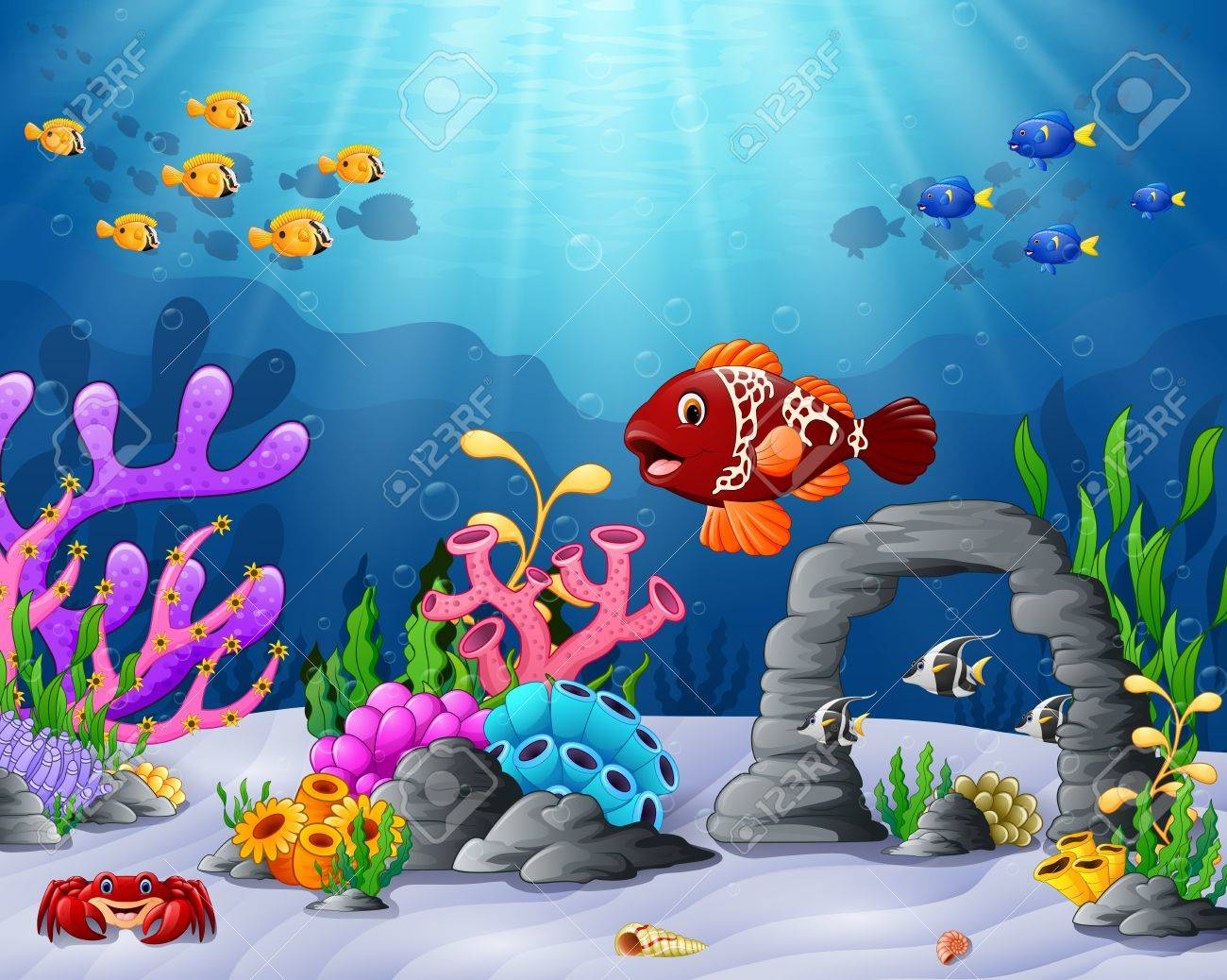 Vector Illustration Of Cartoon Tropical Fish With Beautiful