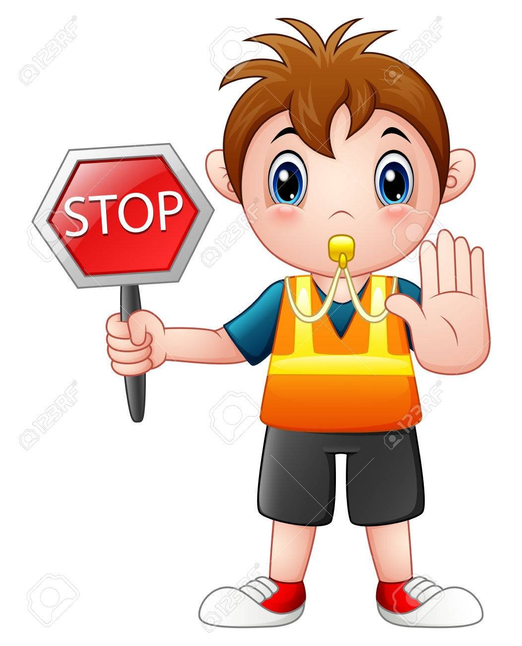 cartoon boy holding a stop sign stock photo picture and royalty rh 123rf com animated stop sign cartoon animated stop sign cartoon