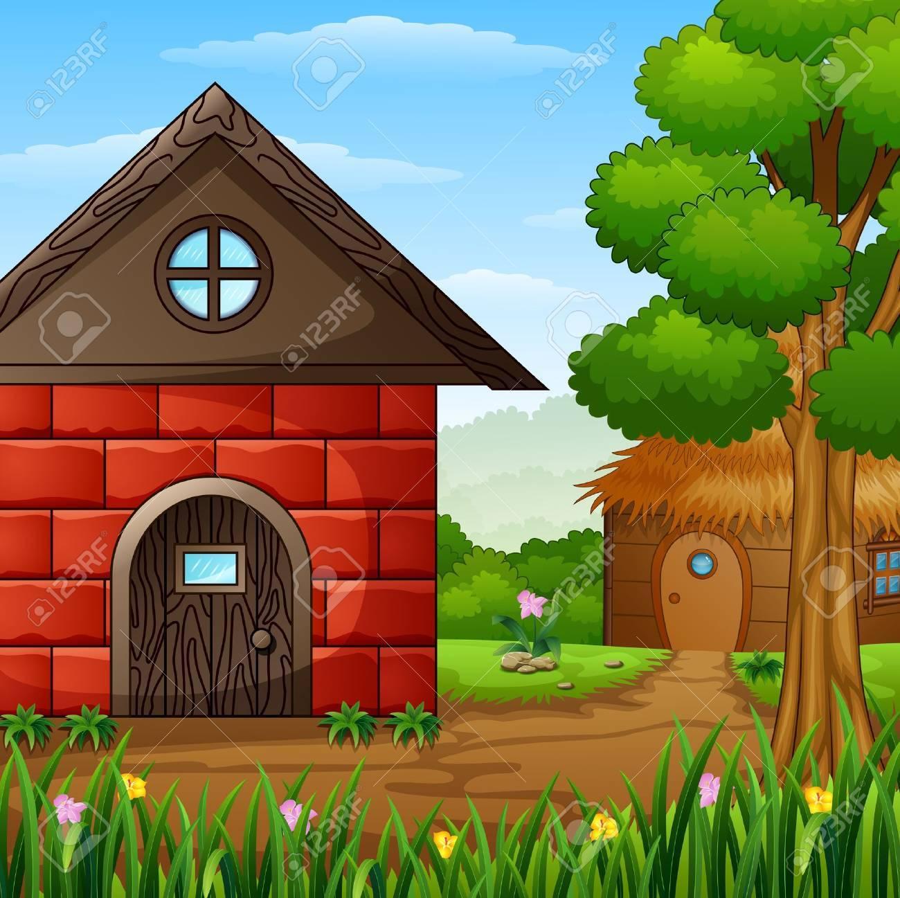 Cartoon barnhouse with a cabin in the farmland - 78420371