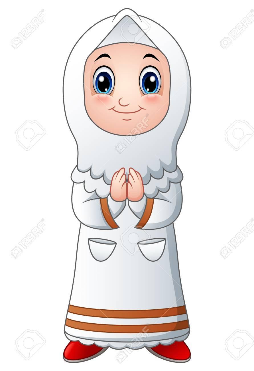 A muslim girl cartoon stock vector 79164134