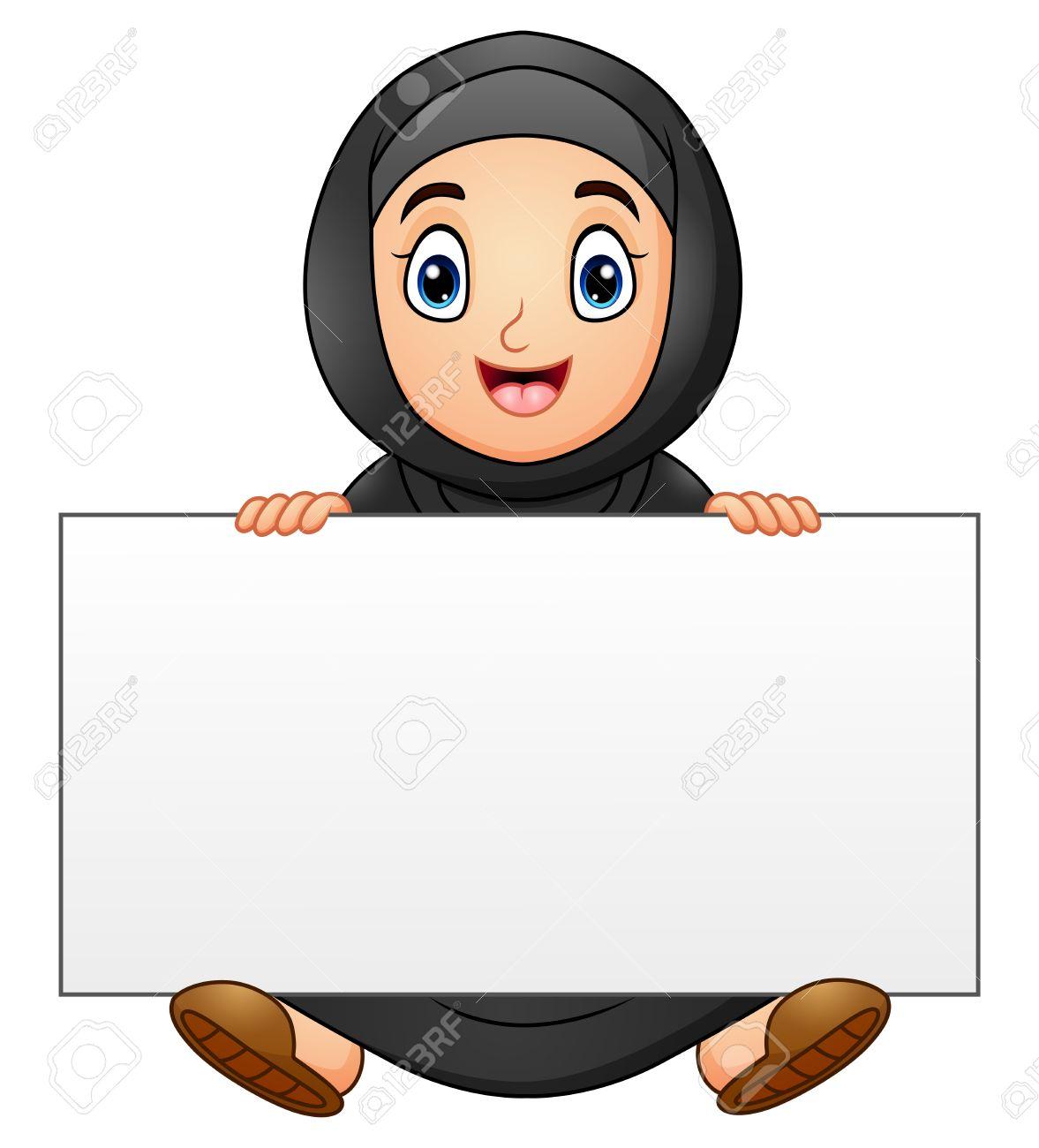 Happy muslim girl cartoon holding blank sign stock vector 79628603