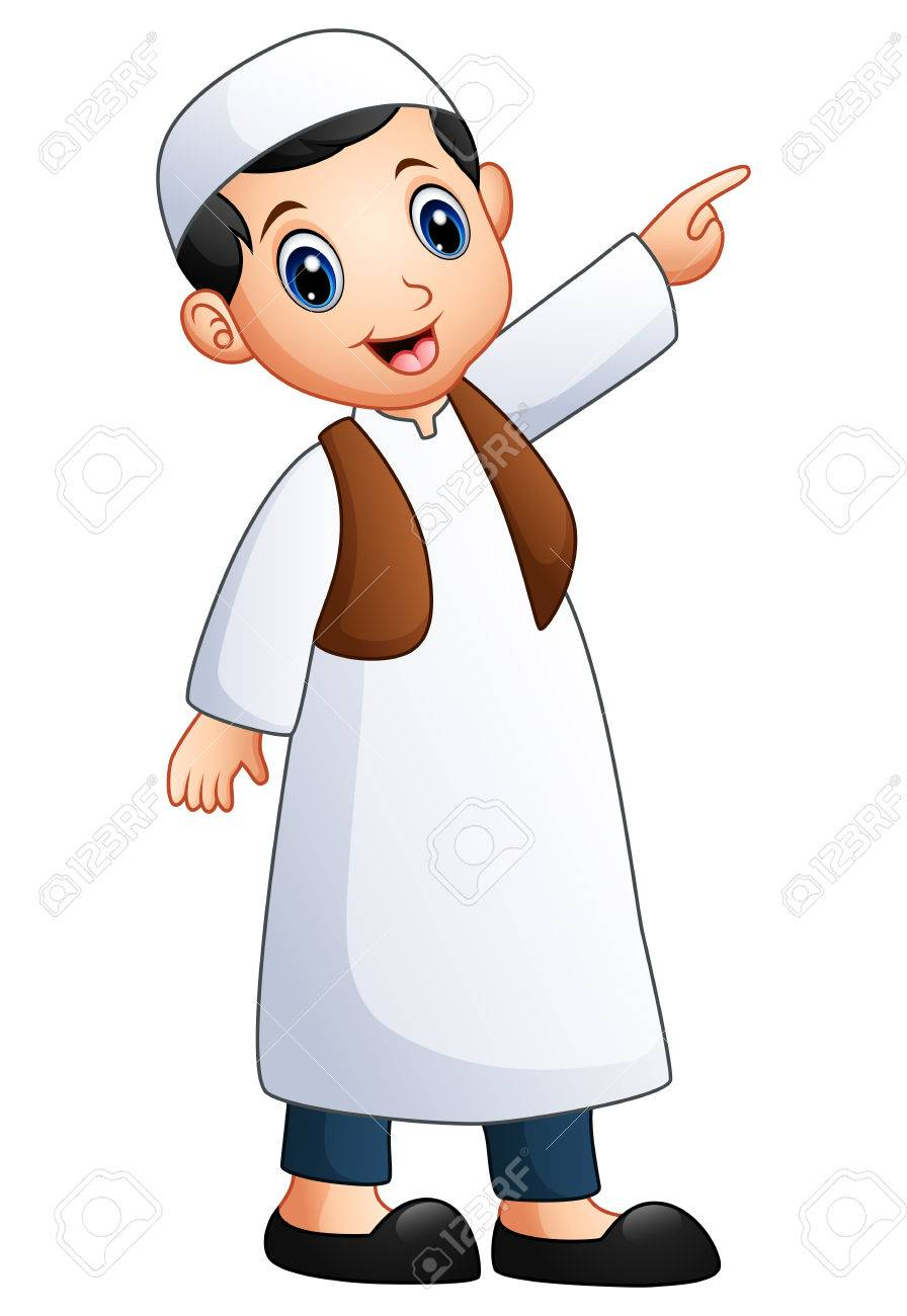 Vector Illustration Of Happy Muslim Kid Showing Royalty Free