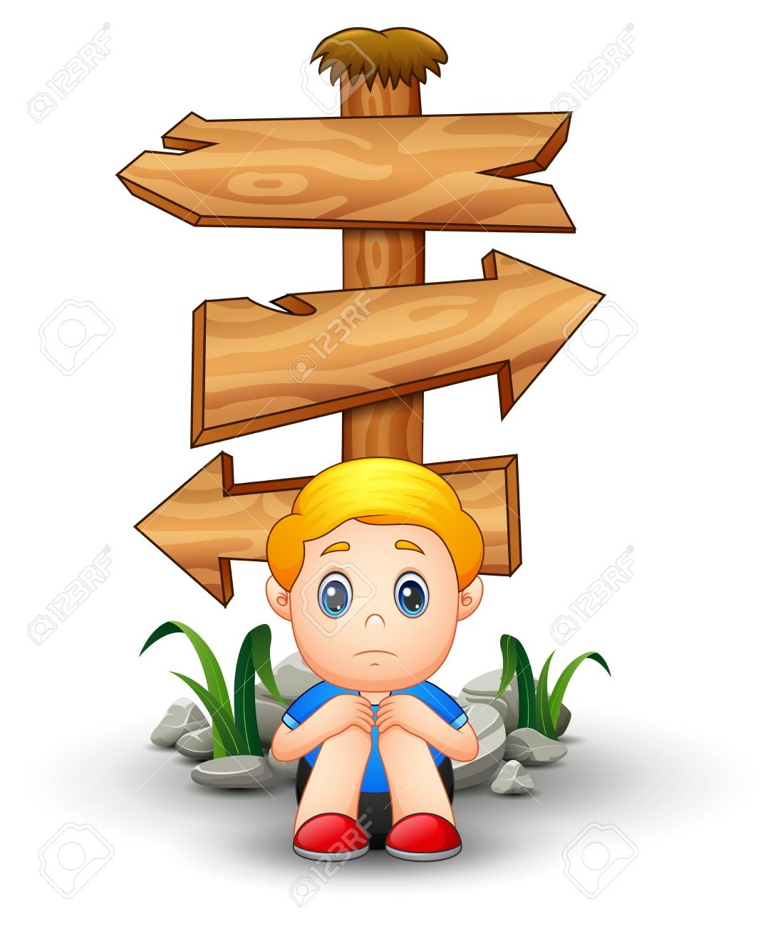 Sad boy cartoon sitting under blank wood arrow sign stock photo 80414806