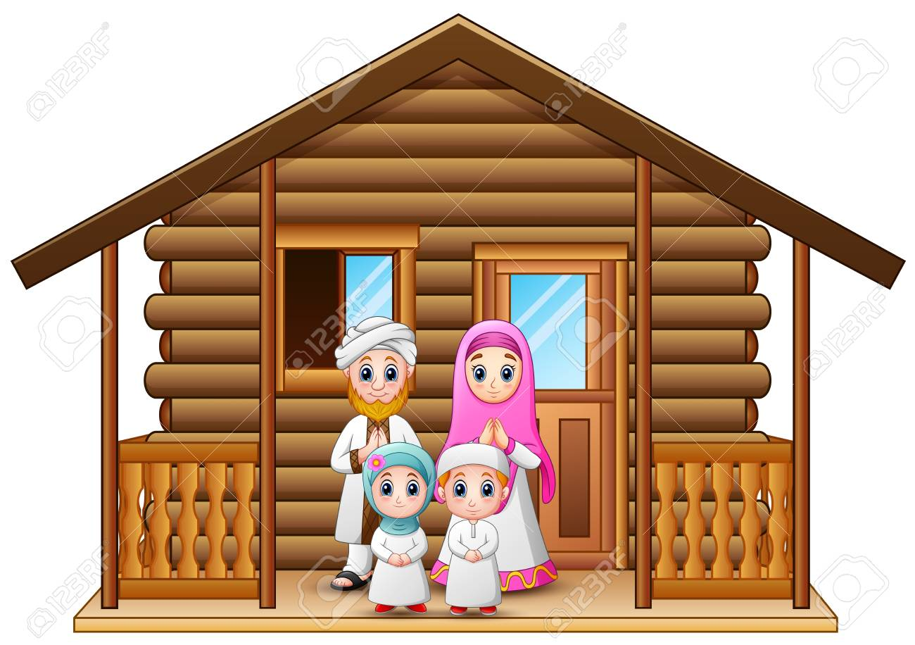 Ilustracion De Vector De Familias Musulmanas De Dibujos Animados En