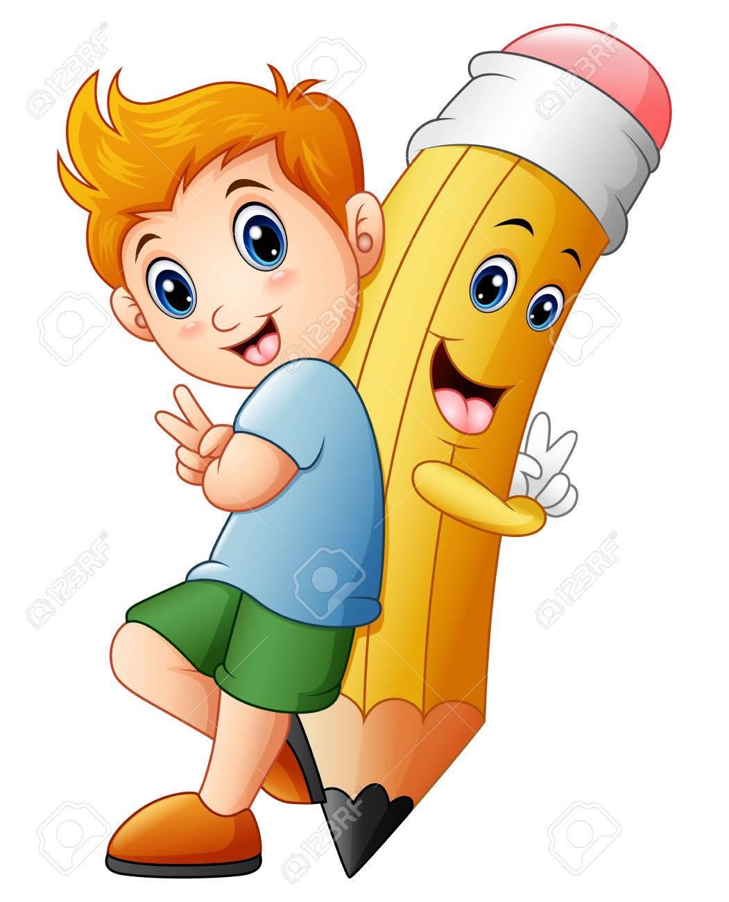 Ecolier illustration vectorielle de l'écolier avec le personnage de crayon