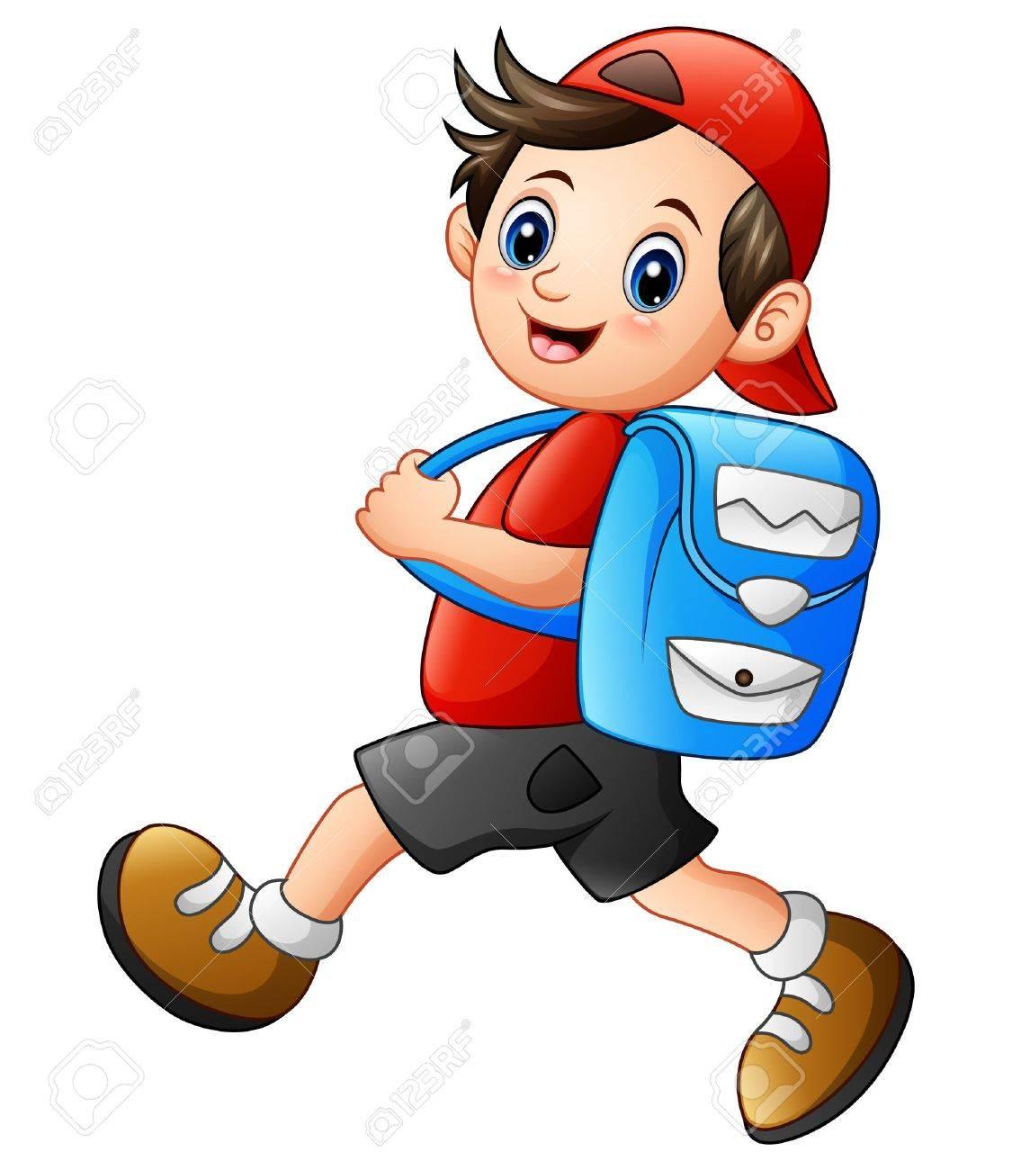 Vector illustration of Cute school boy cartoon going to school - 80407268