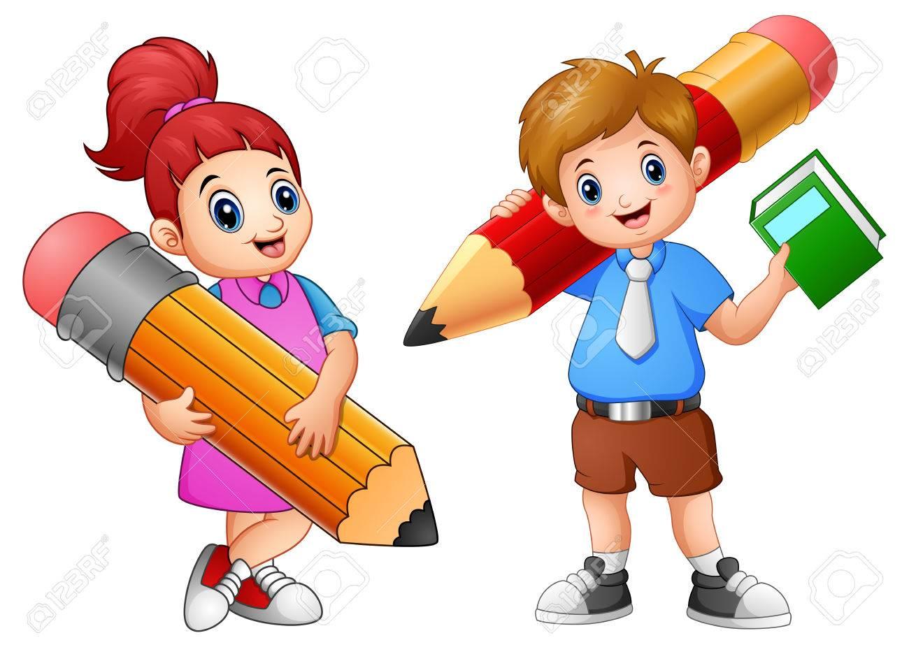 Ilustración De Vector De Niños De Dibujos Animados Con Un Lápiz ...