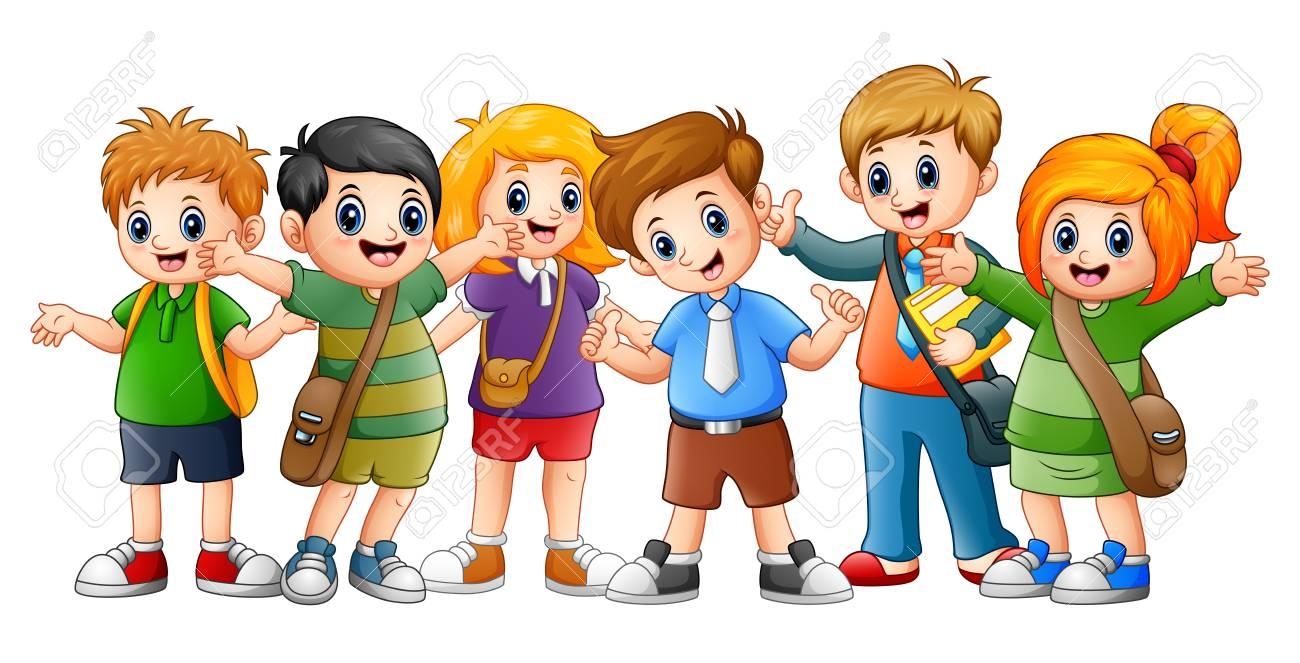 Vector Illustration Of Happy School Kids Cartoon Royalty Free Cliparts,  Vectors, And Stock Illustration. Image 81813130.