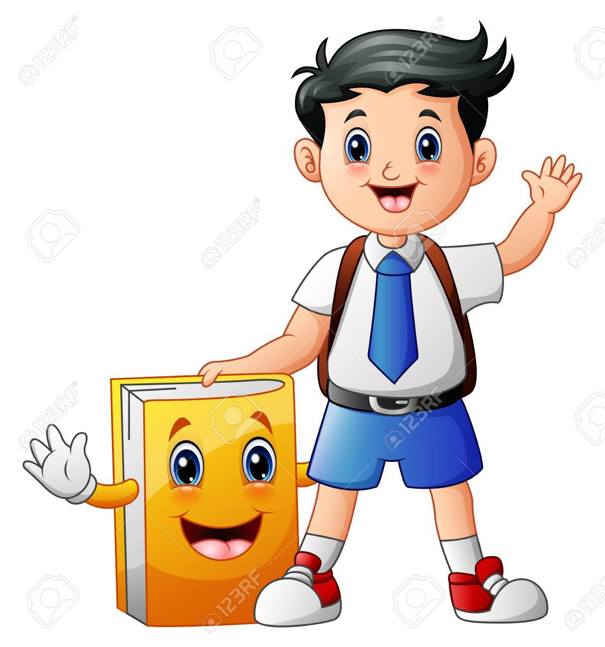 A Cute Boy In A School Uniform With Book Cartoon Character Stock