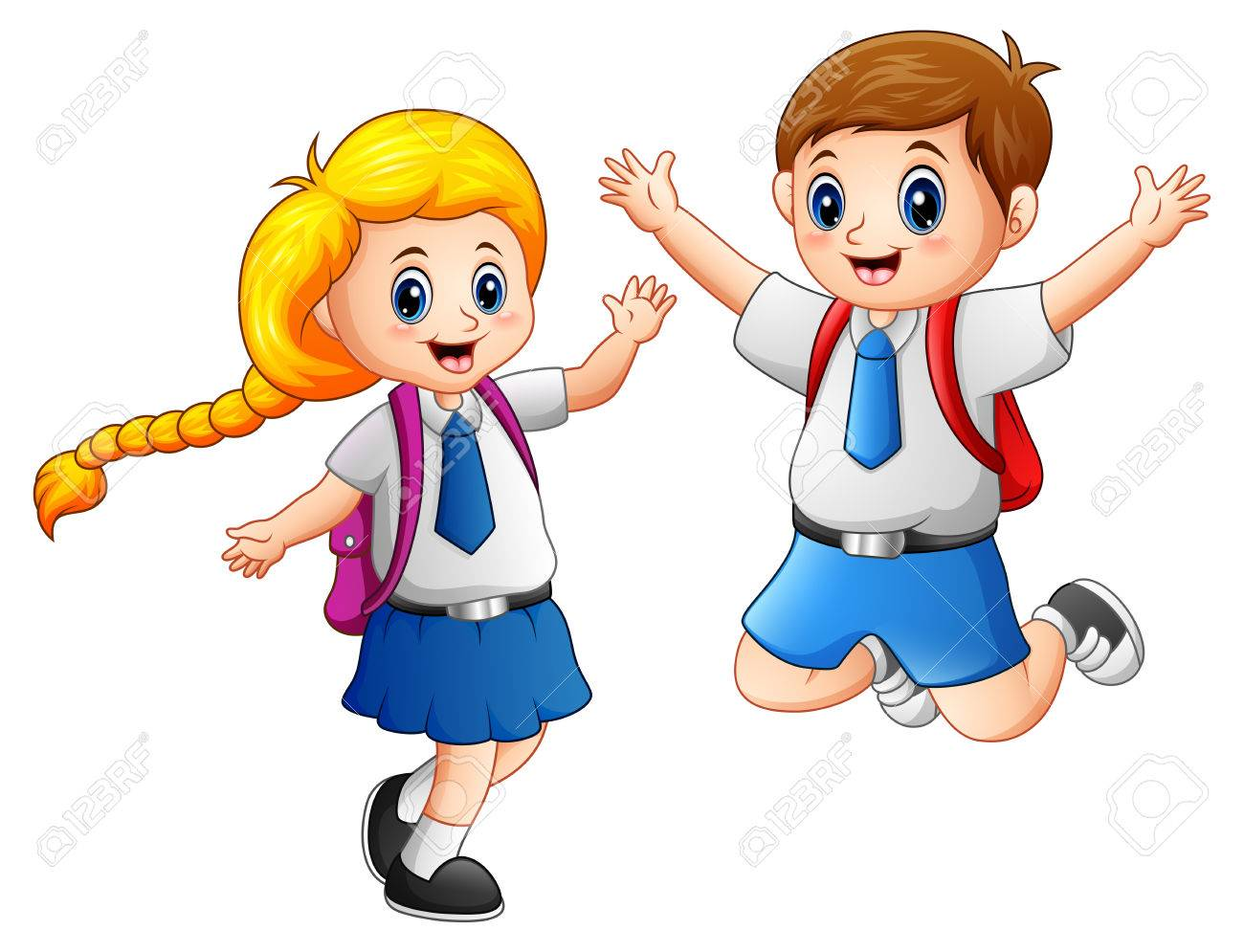 Happy School Kids In A School Uniform Stock Photo Picture And