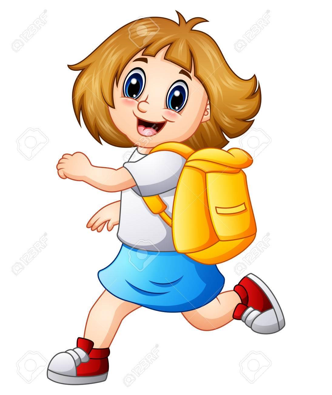 feliz niña de dibujos animados con la mochila fotos retratos