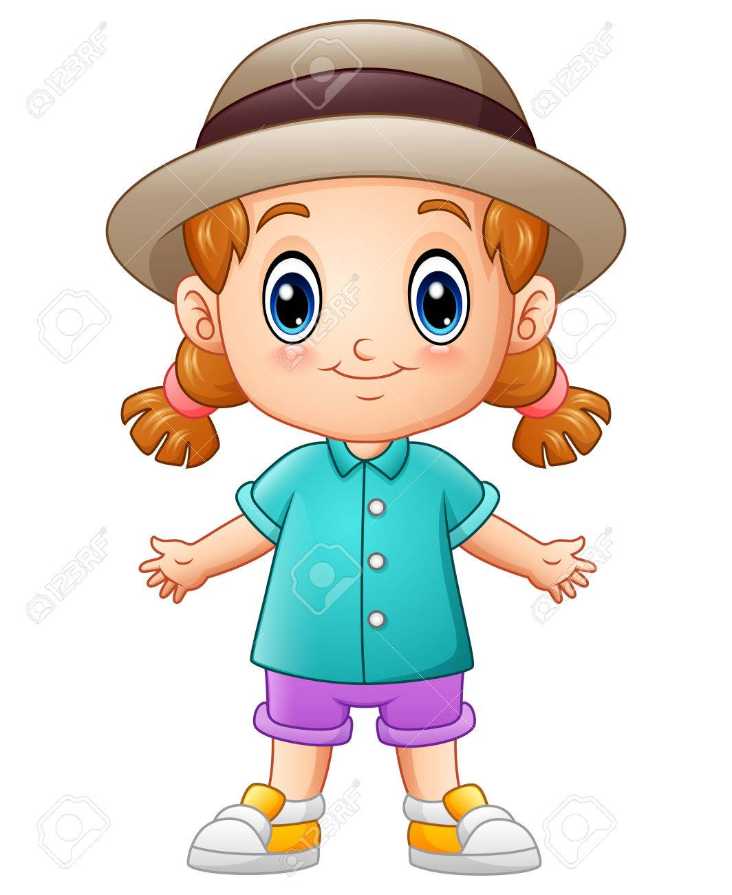 d109f4e5117 Vector illustration of Cute cartoon little girl in a hat Stock Vector -  82746869