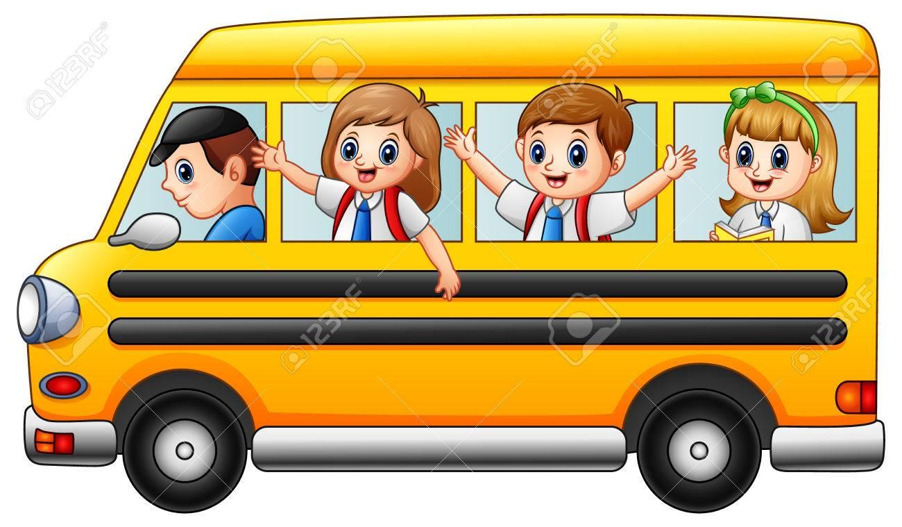 A Vector Illustration Of Happy School Kids Riding A School Bus