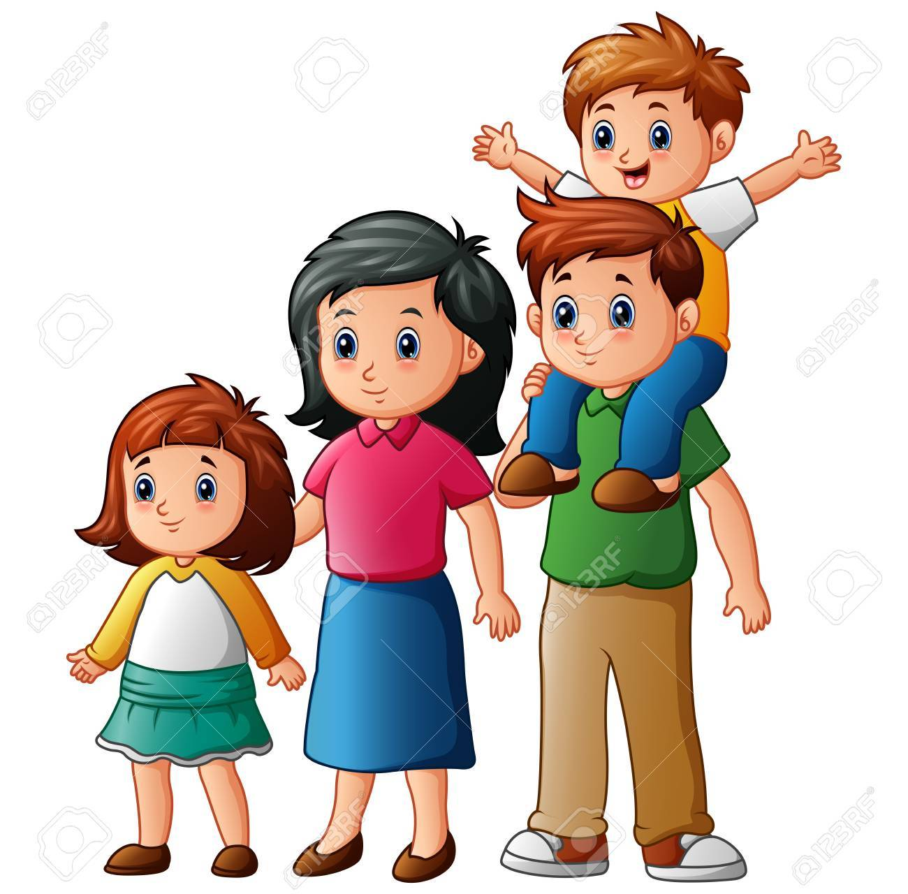 happy family cartoon stock photo picture and royalty free image rh 123rf com cartoon family pictures free cartoon family pictures of 6