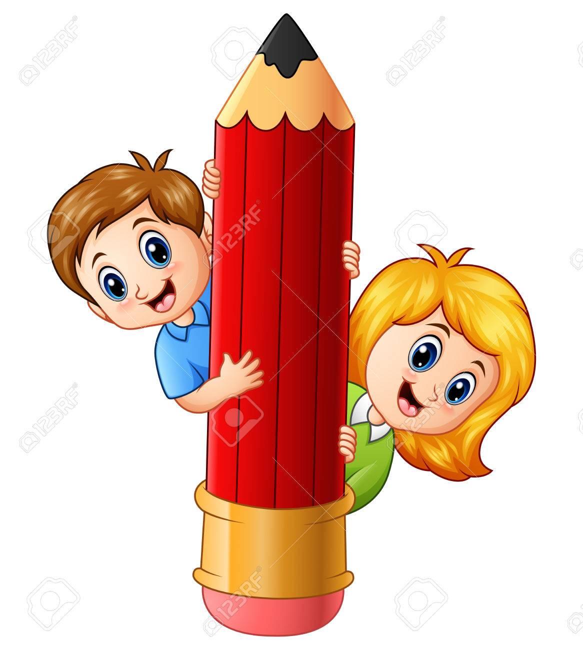 Vector Illustration Of Cartoon Kids Holding Pencil Royalty Free ...