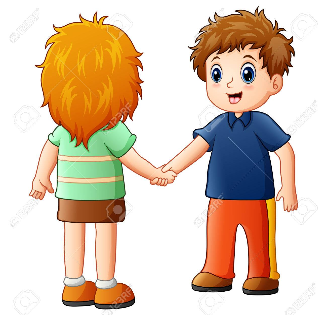 cartoon boy and girl shaking hands stock photo picture and royalty rh 123rf com shaking hands cartoon pic man shaking hands cartoon