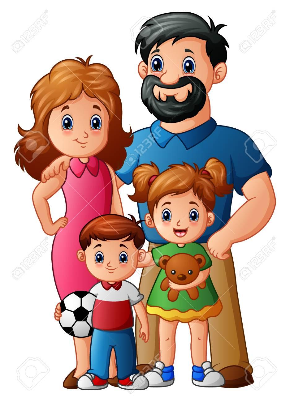 Ilustración De Vector De Dibujos Animados De Familia Feliz