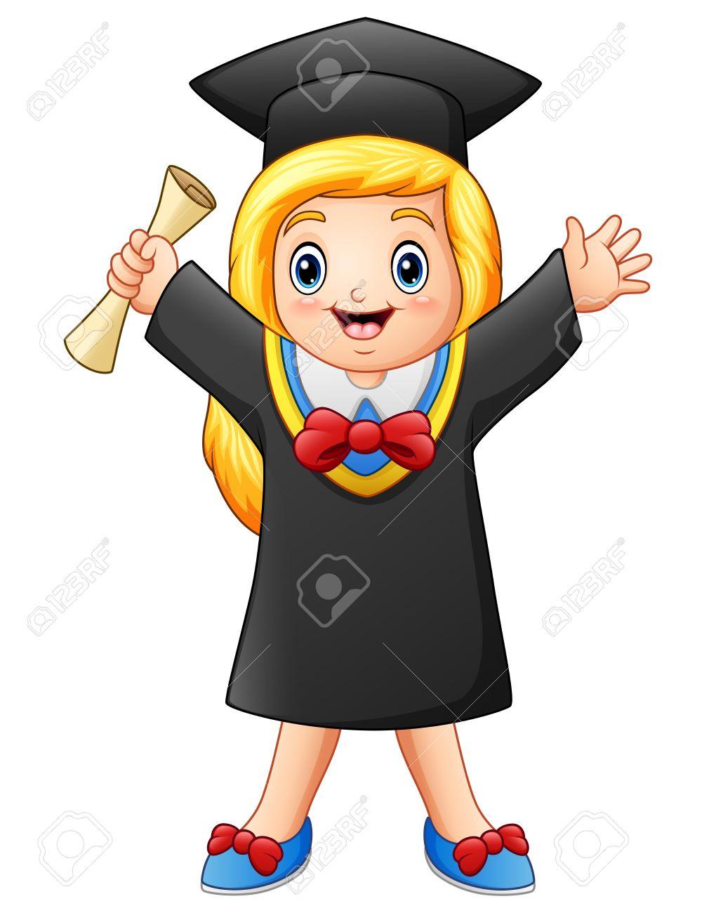 Ilustración Vectorial De Chica Graduada De Dibujos Animados Con Diploma