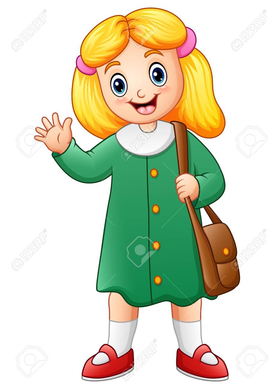 かわいい学校の女の子のベクトル イラスト ロイヤリティフリークリップ