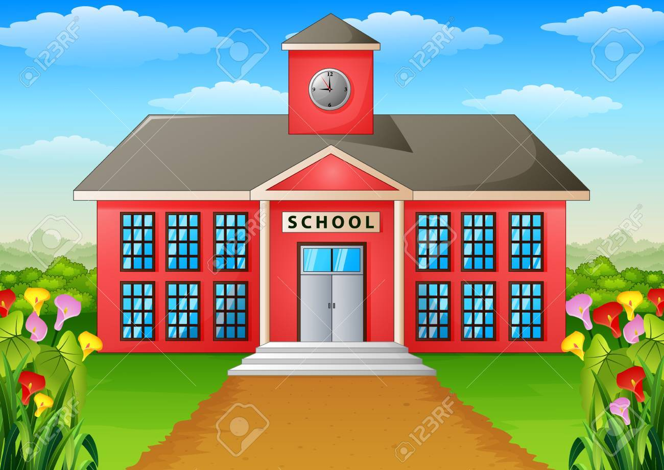 cartoon school building with green yard stock photo picture and rh 123rf com cartoon pics of school building cartoon school building vector illustration