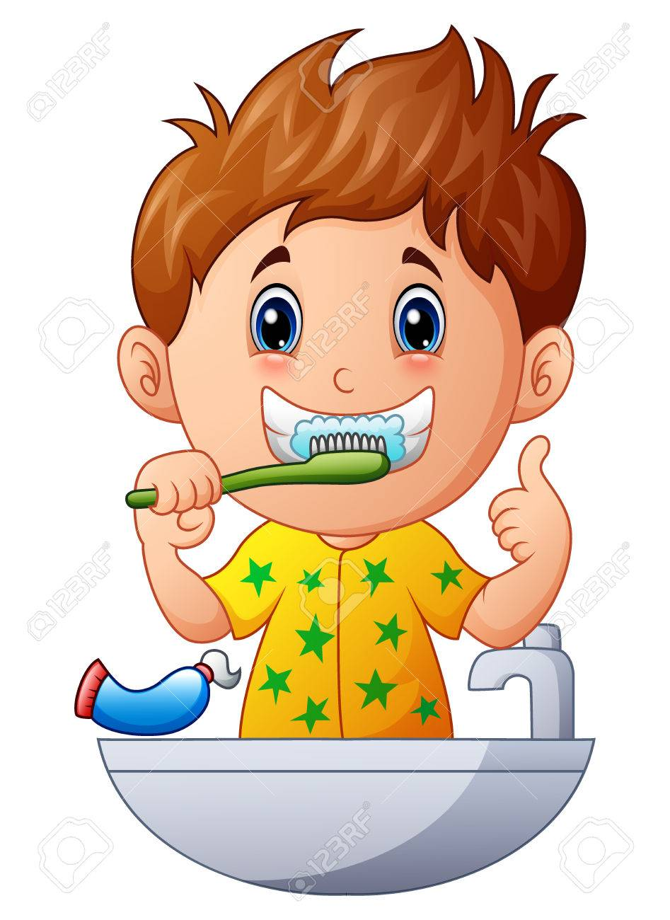 vector illustration of cute boy brushing teeth royalty free cliparts