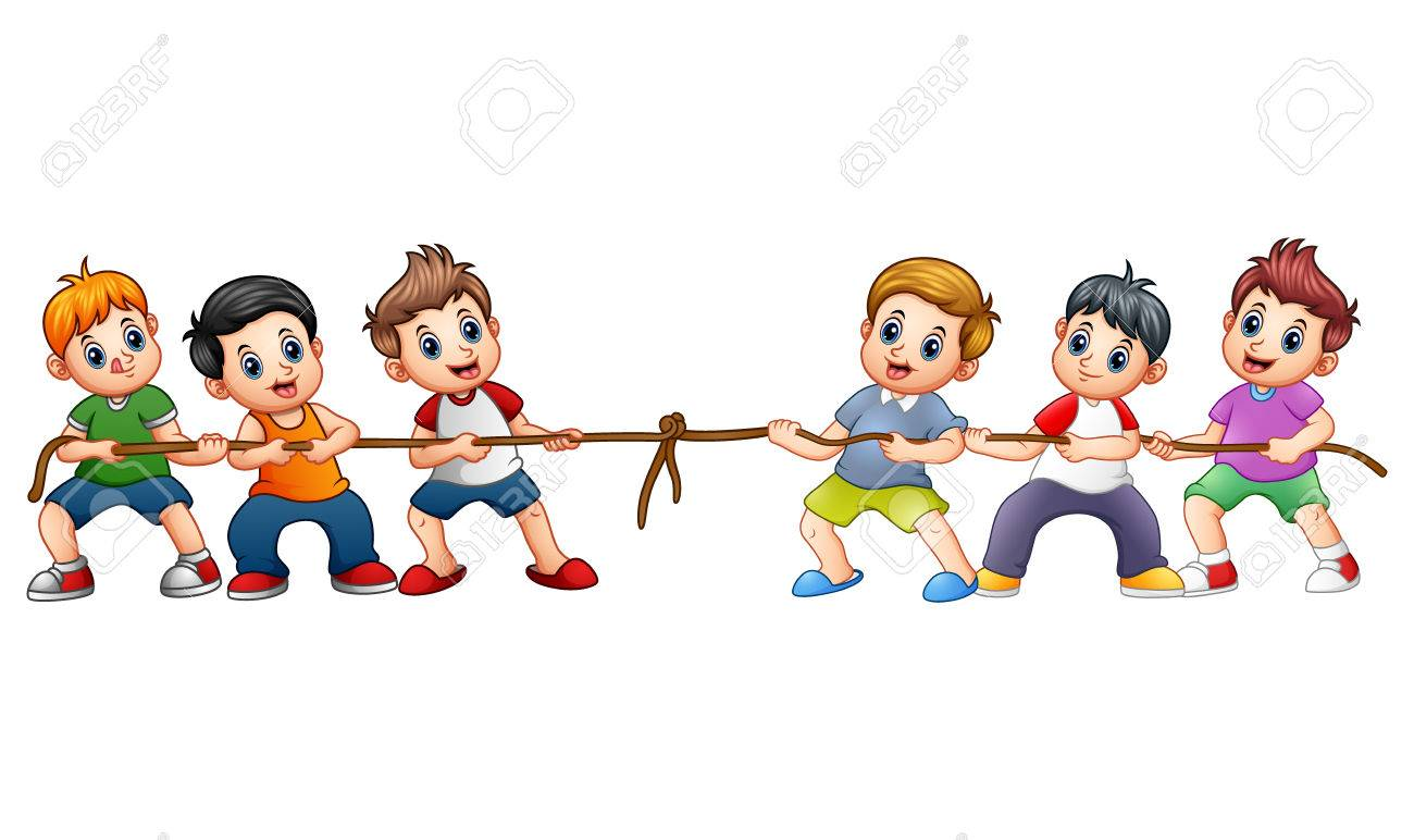 Vector illustration of Group of children playing tug of war - 83993297