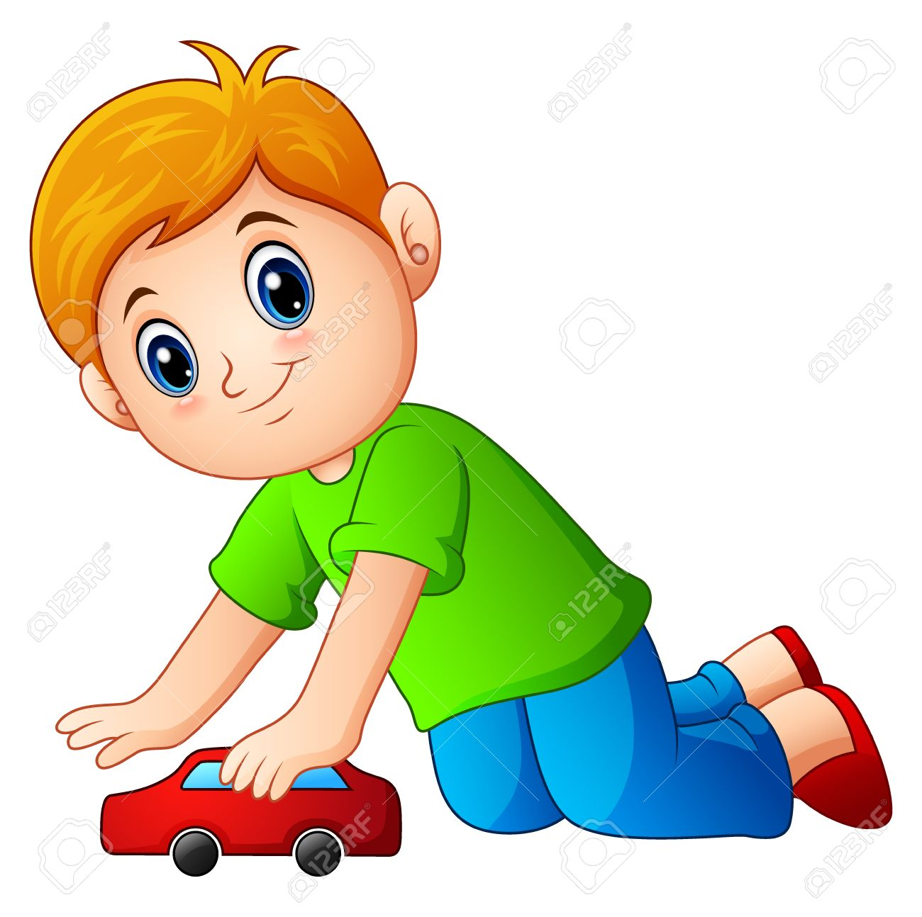 Little Boy Playing A Toy Car Royalty Free Cliparts Vectors And