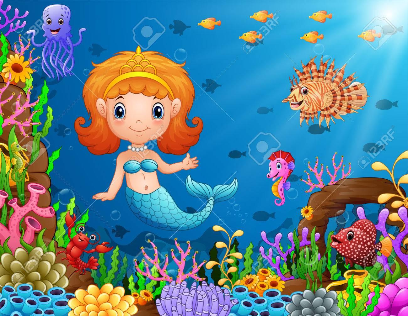 Vector Illustration Of Cartoon Little Mermaid Underwater Royalty