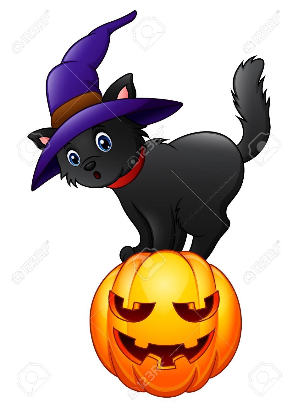 Black cat standing on a pumpkin. - 85547714