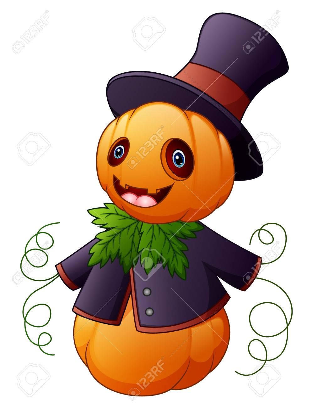 Halloween Cartoon Scarecrow With Pumpkin Head Stock Photo, Picture ...