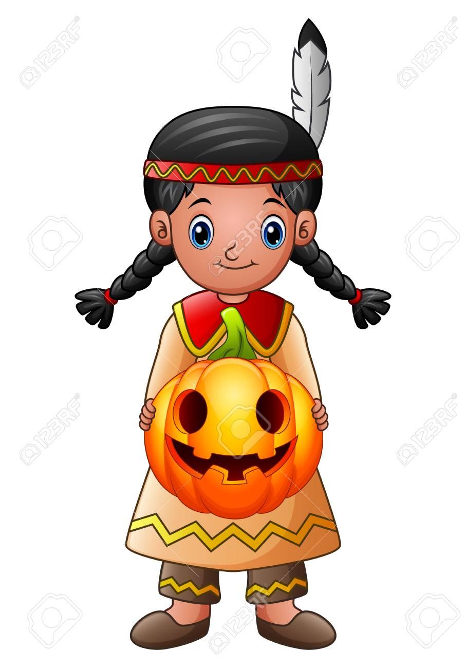 Vector illustration of American Indian girl holding pumpkin - 87297823