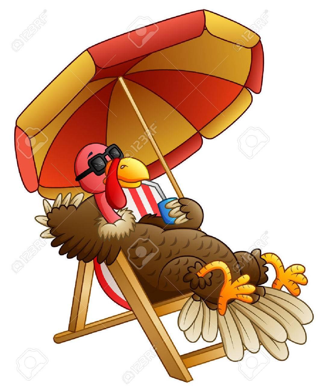 A Vector illustration of Cartoon turkey bird sitting on beach chair. - 87171942