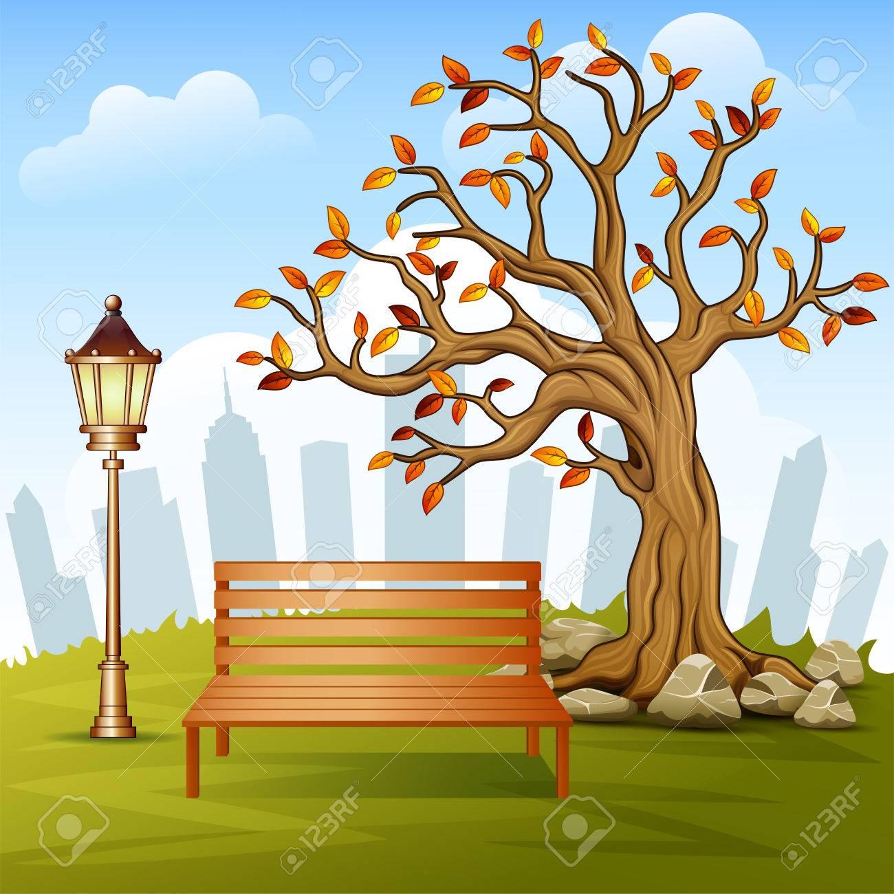美しい秋市立公園まちづくりの背景のベクトル イラストのイラスト素材