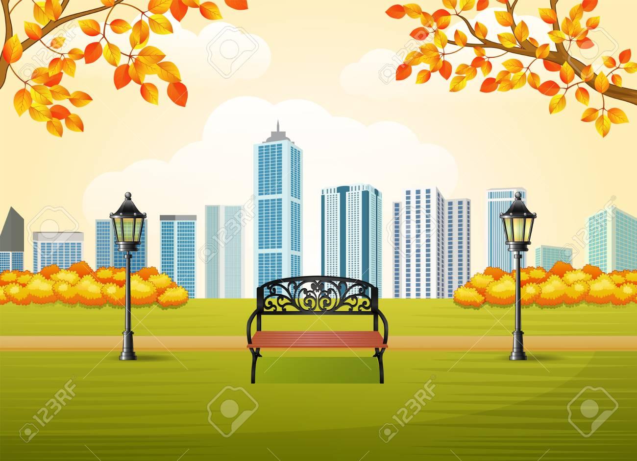 まちづくりの背景と美しい秋の都市公園のベクター イラストですの