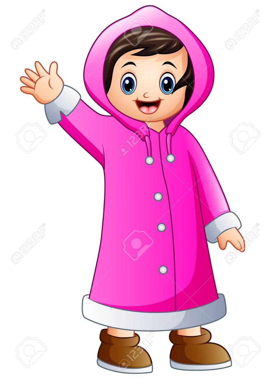 6b188633407e Illustration Of Cartoon Girl In Pink Winter Jacket Waving. Royalty ...