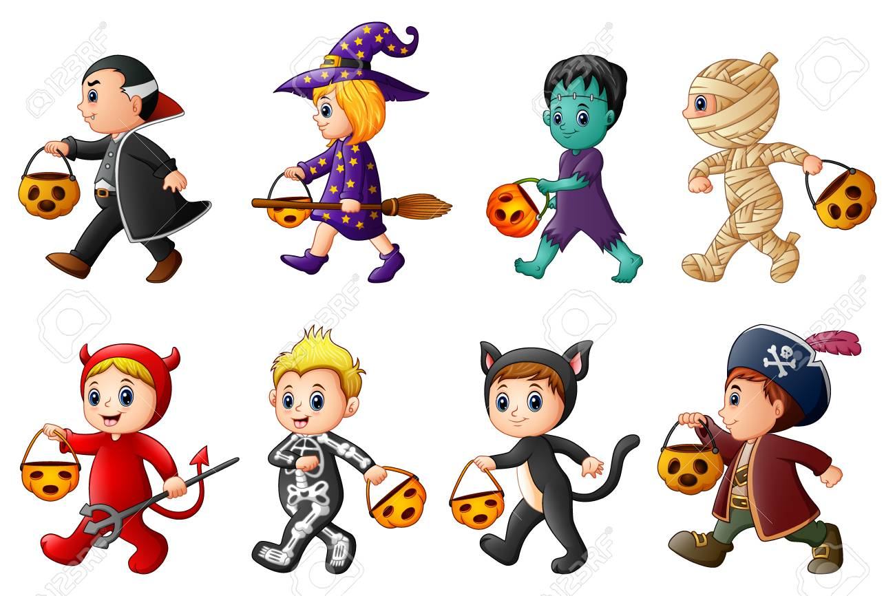 Joyeux Halloween. Ensemble d\u0027enfants de dessin animé mignon en costumes  d\u0027Halloween