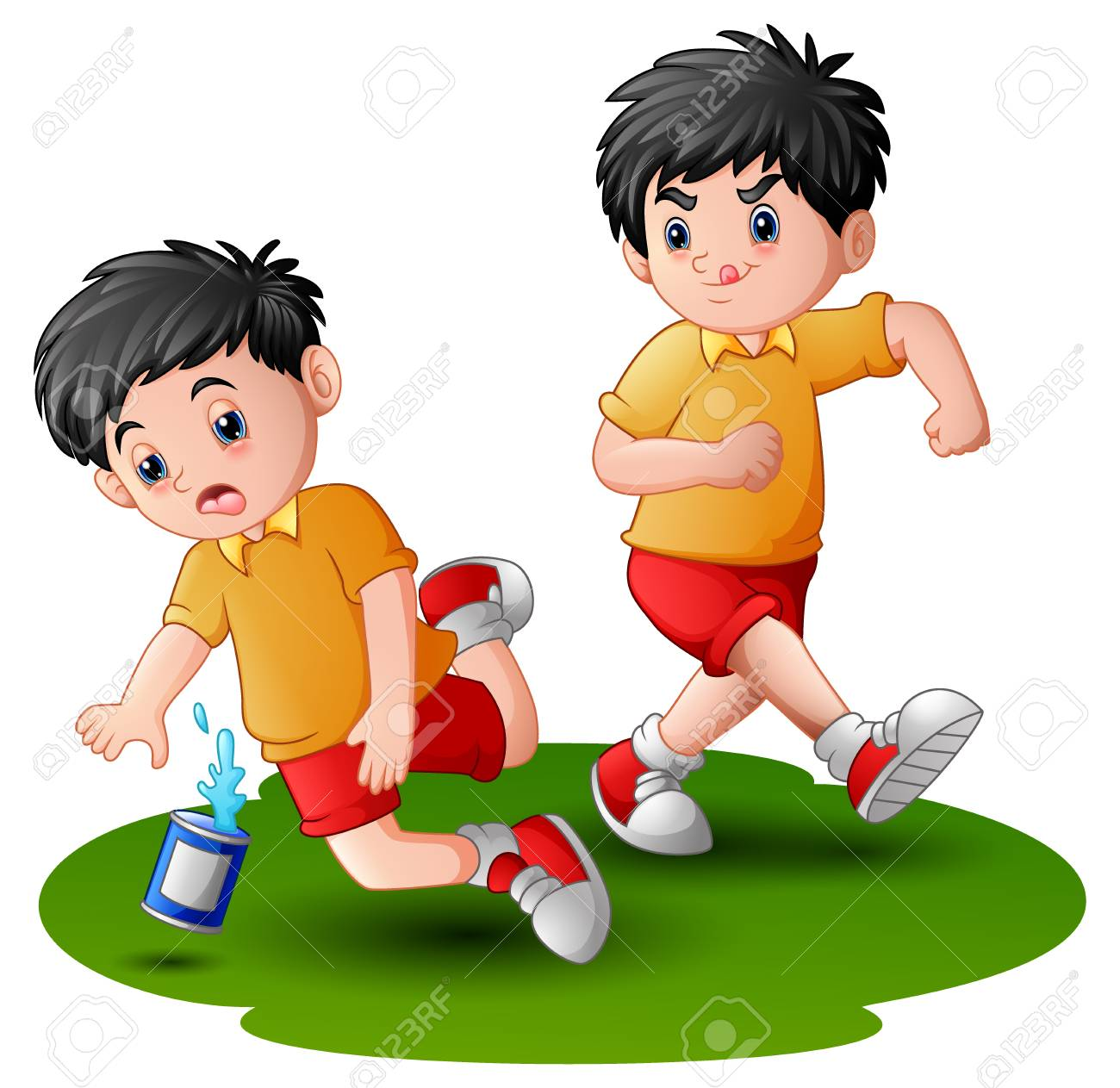 cartoon boy kicking others kid leg stock photo, picture and royalty