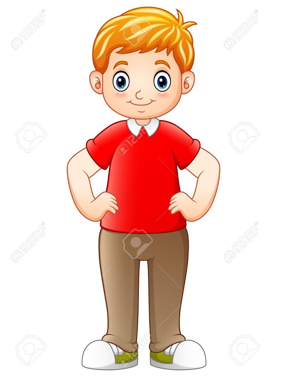Ilustración De Vector De Niño De Dibujos Animados De Pie Y Cogidos