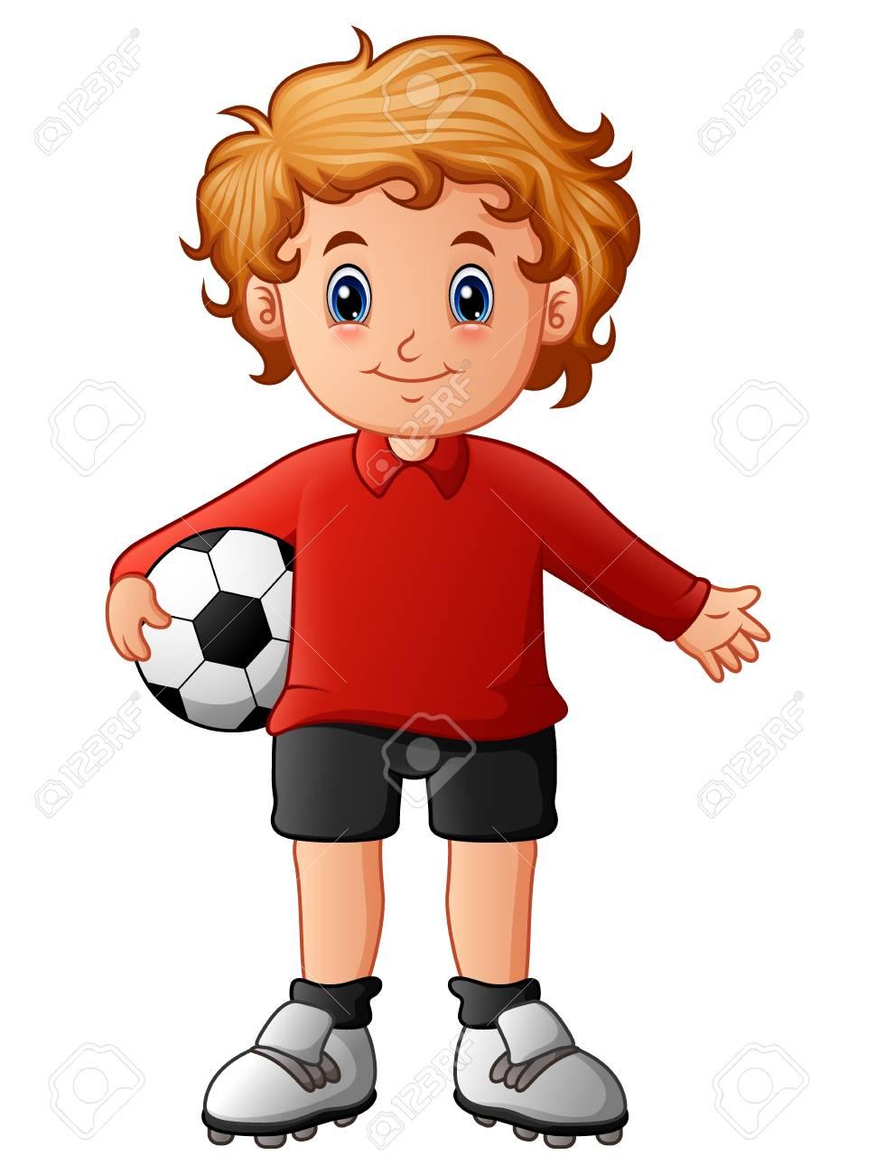 Nino De Dibujos Animados Con Balon De Futbol Fotos Retratos Imagenes Y Fotografia De Archivo Libres De Derecho Image 88704604
