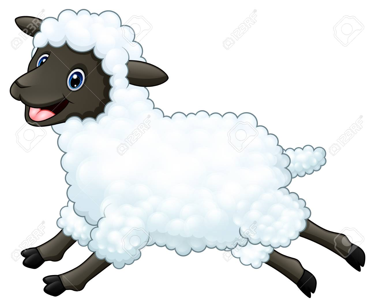 Cartoon Happy Sheep Jumping Isolated On White Background Stock Photo