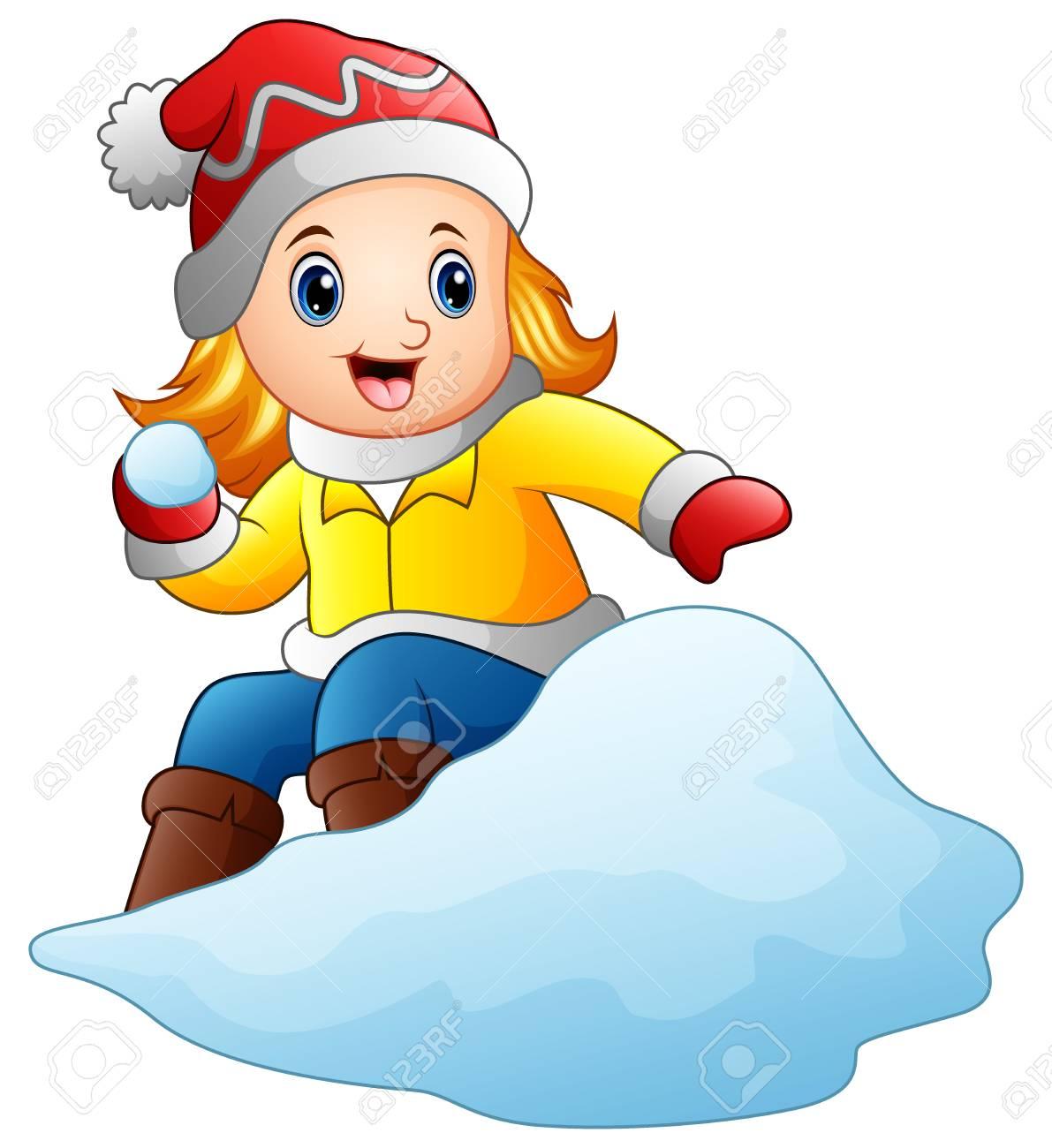 Illustration Vectorielle De Fille De Dessin Animé Jouant Au Snowboard Avec Une Neige