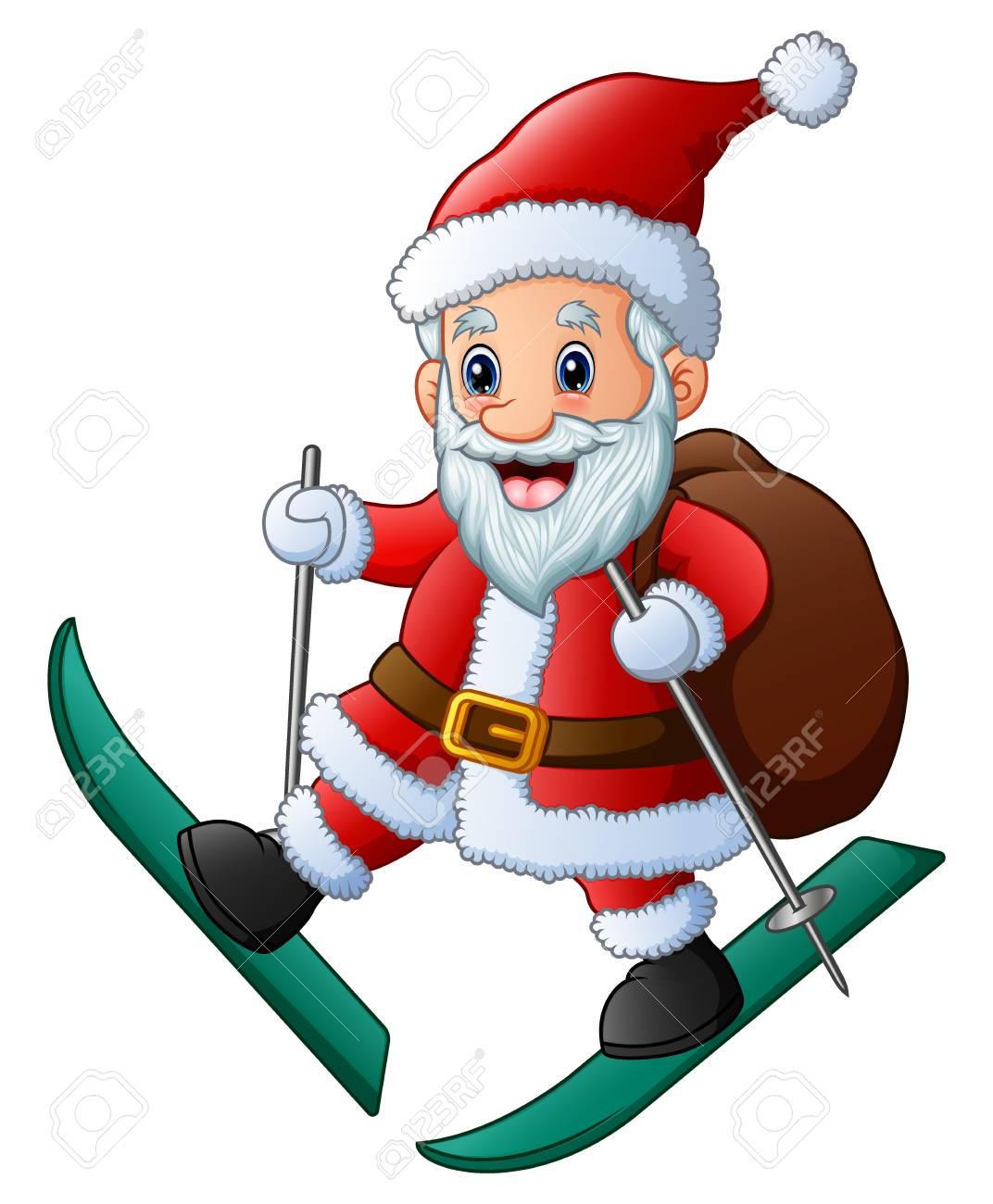 Image Pere Noel En Ski.Illustration Vectorielle De Ski Pere Noel Avec Sac De Cadeaux