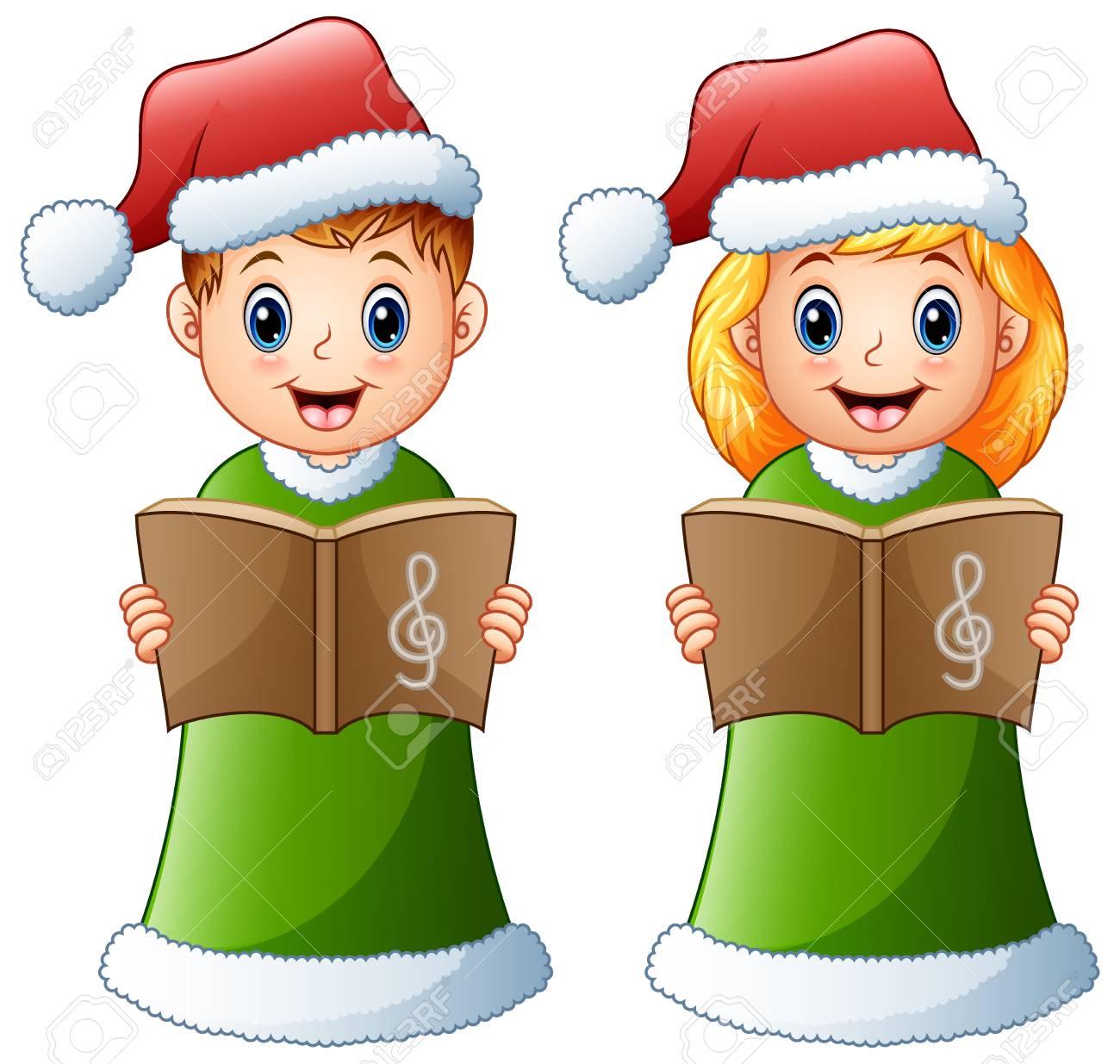 Happy Kids In Green Santa Costume Singing Christmas Carols Stock ...